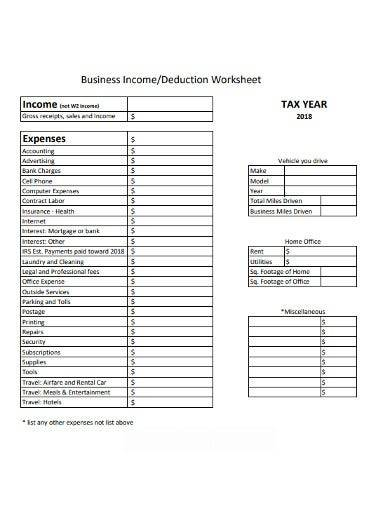 business income deduction worksheet