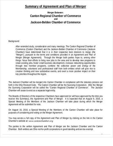 business plan merger agreement