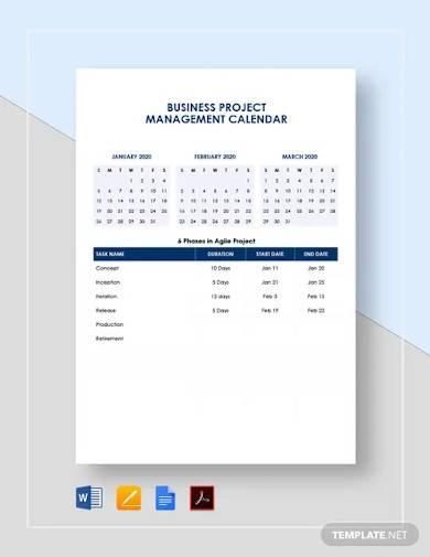 business project management calendar