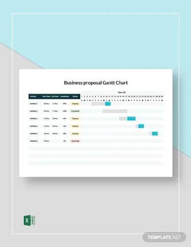 business proposal gantt chart template