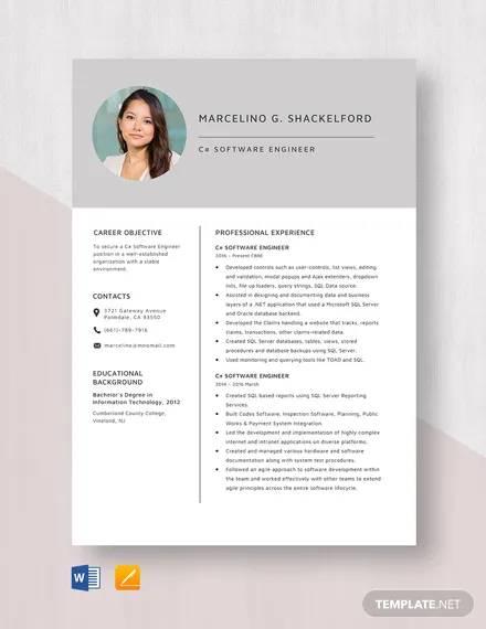 c software engineer resume template