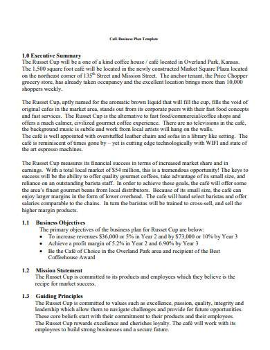 cafe business plan template