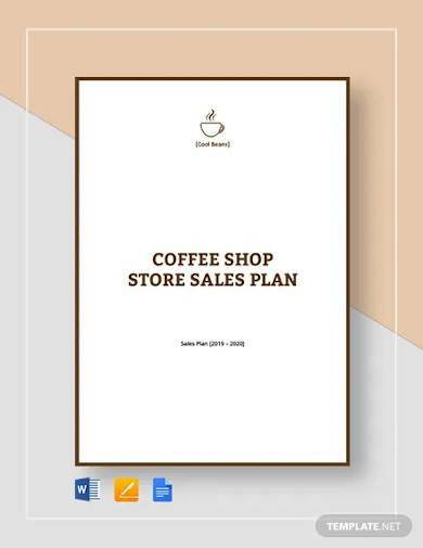 cafe coffee shop sales plan template