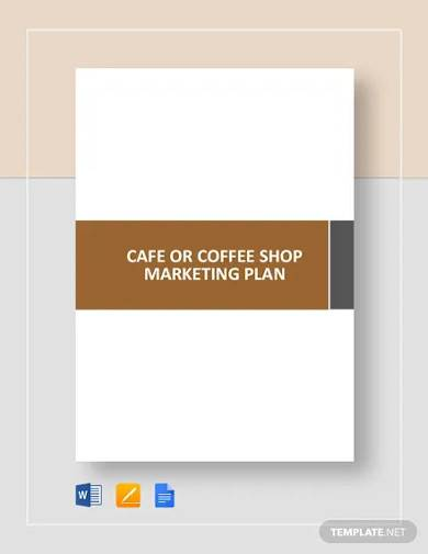 cafe or coffee shop marketing plan template