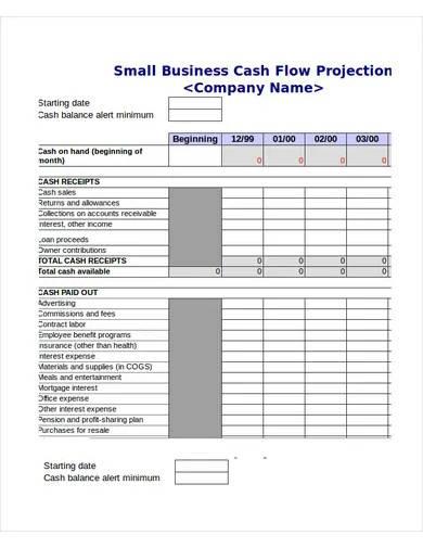 cash flow projection template