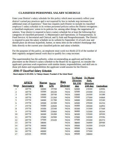 classified personnel salary schedule
