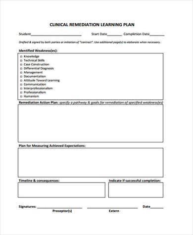 clinical remediation learning plan