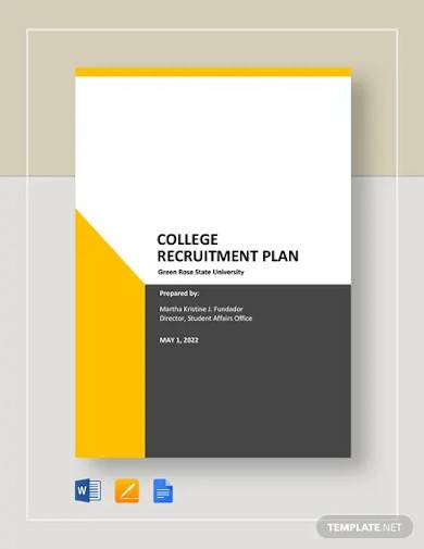 college recruitment plan template