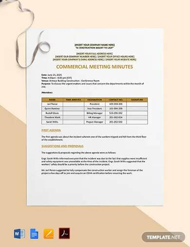 commercial construction meeting minutes template