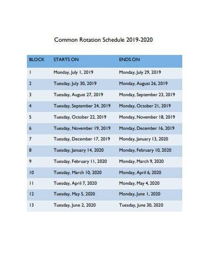 common rotation schedule