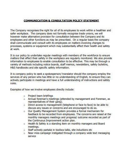 communication and consultation policy