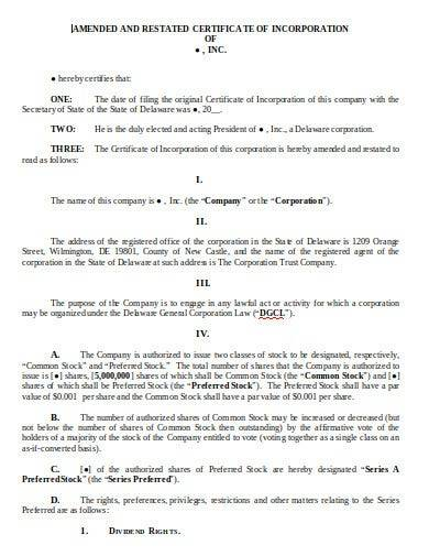 company incorporation certificate