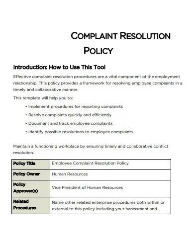 complaint resolution policy template