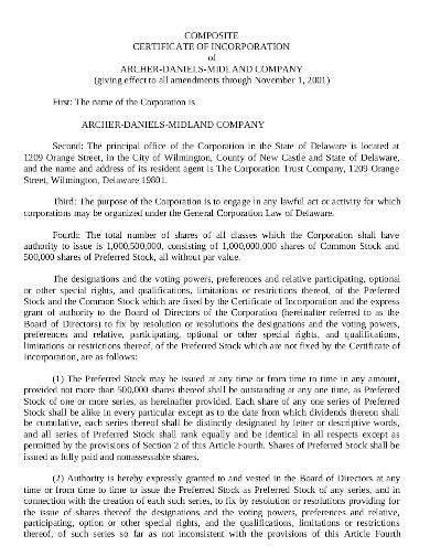 composite certificate of incorporation template