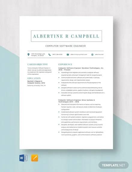 computer software engineer resume template