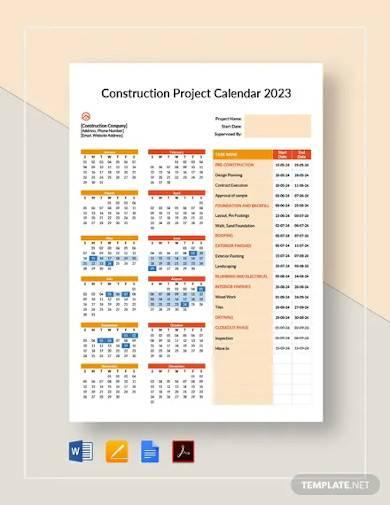 construction project calendar template