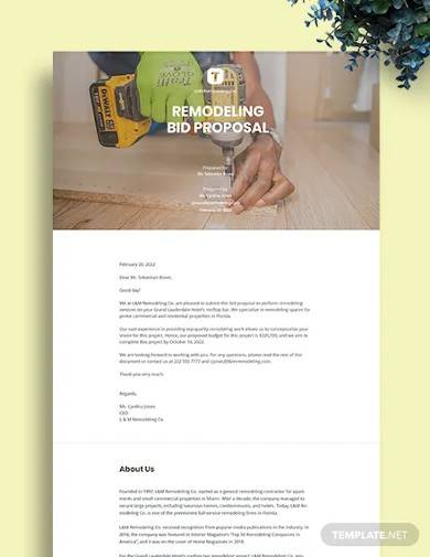 construction remodeling bid proposal template