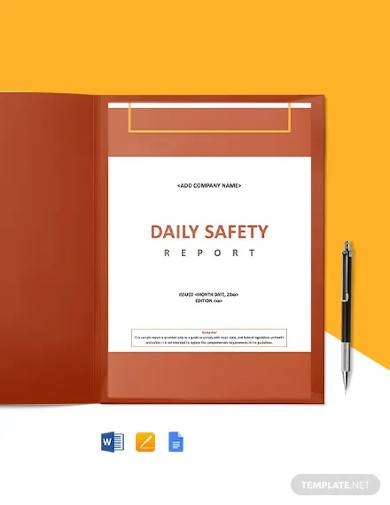 construction safety daily report template