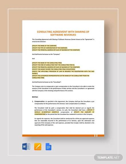 consulting agreement with sharing of software revenues