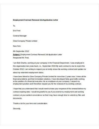 contract renewal job application letter