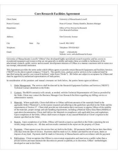 core research facilities agreement