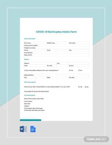 coronavirus covid 19 bankruptcy intake form