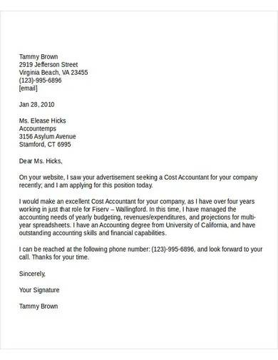 cost accountant job application letter
