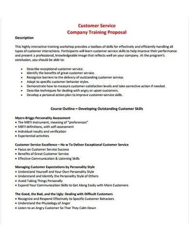 customer service company training proposal
