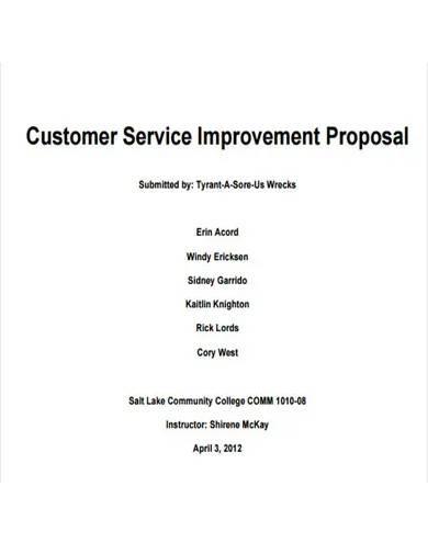 customer service improvement proposal