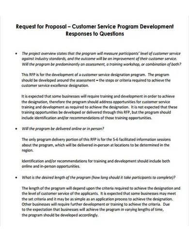 customer service program proposal