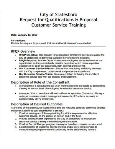customer service training request proposal