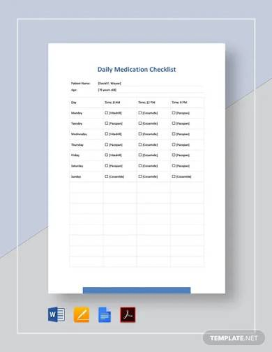 Free 10 Medication Checklist Samples In Ms Word Pages Google Docs Pdf