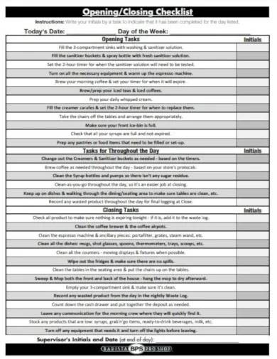 daily opening checklist template