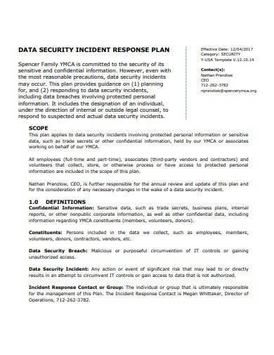 data security incident response plan