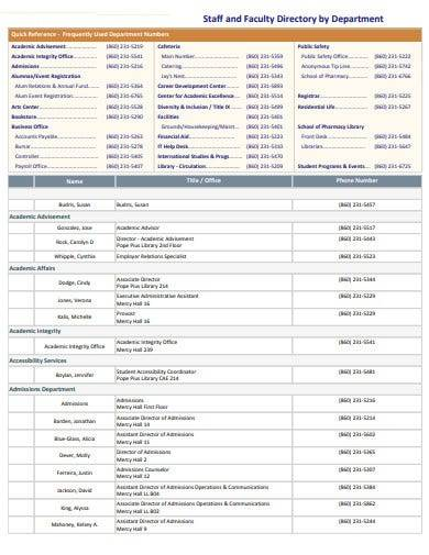 department staff and faculty directory