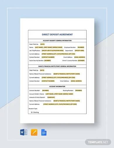 direct deposit agreement template