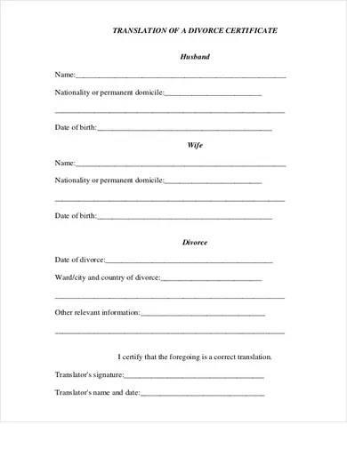 divorce certificate template