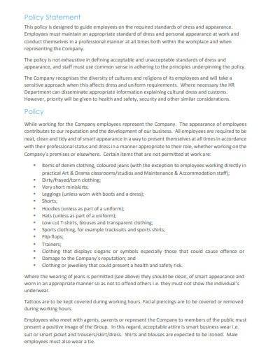 dress code and appearance policy statement