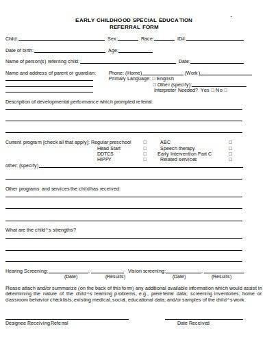 early childhood special education form