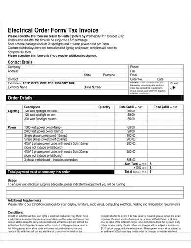electrical tax invoice template