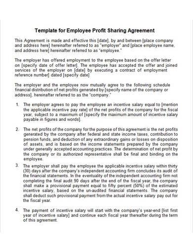 employee profit sharing agreement template