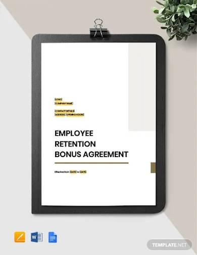 employee retention bonus agreement template