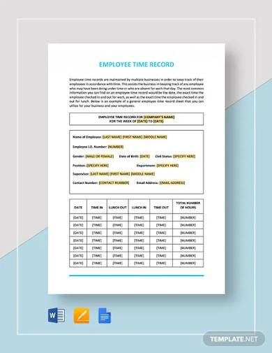 employee time record template