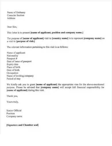employment visa job application letter