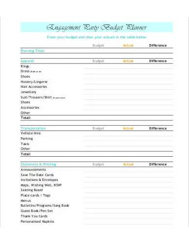engagement party budget template
