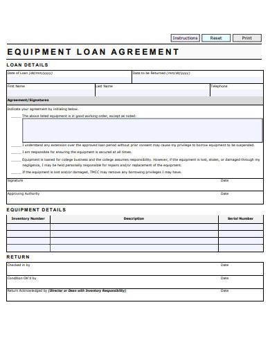 equipment loan agreement format