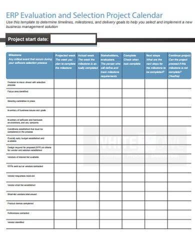 evaluation project calendar template