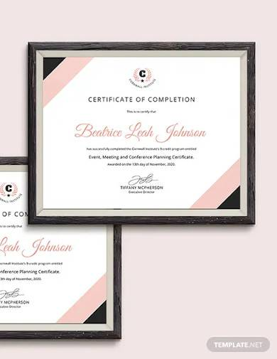 event planning certificate template