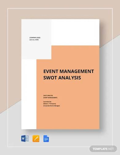 events management swot analysis template