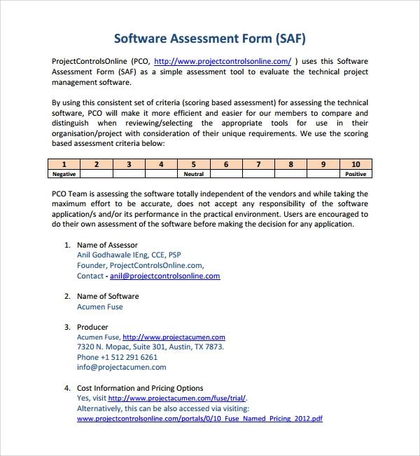 example of software assessment template